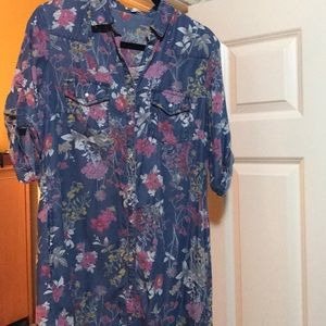 Floral Denim Dress mid length